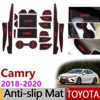 Противоскользящие резиновые коврики ворота слот чашки коврик для Toyota Camry 2018 2019 2020 XV70 70 daihatsu altis 18 шт. аксессуары автомобильные наклейки
