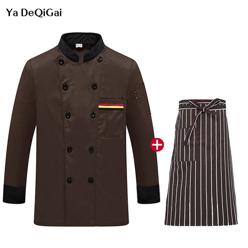 Long Sleeved Restaurant Chef Uniforms Kitchen Cooking Jacket + Apron Men And Women Catering Waiter Workwear Unisex Chef Jacket