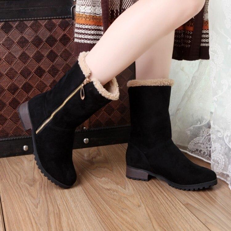 Toe Zapatos Grande Hebilla Botas 33 Mujer Tamaño Oscuro Para marrón rojo 47 Caliente Nuevo gris 2017 919 Round Casual Negro Moda Invierno WfZvzA