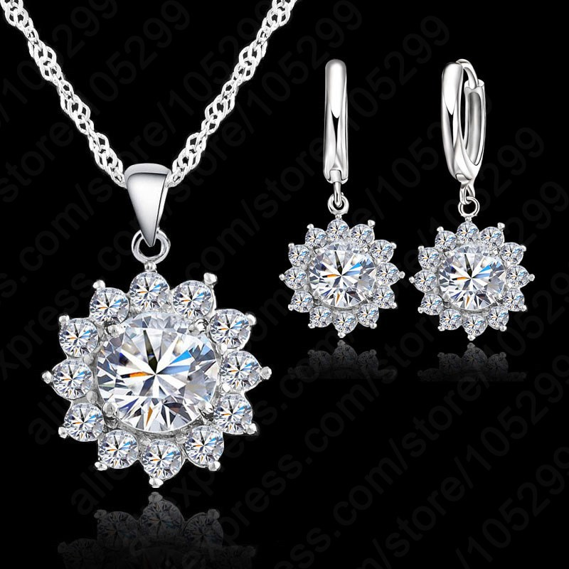Femmin Austrian Crystal Pendants Necklace And Earrings Set For Women Fine 925 Sterling Silver Bridal Wedding Jewelry Sets