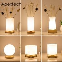 Apextech Wood+Glass Table Lights Modern Simplicity Style Desk Decoration Reading Lamp Bedroom Bedside Night Light