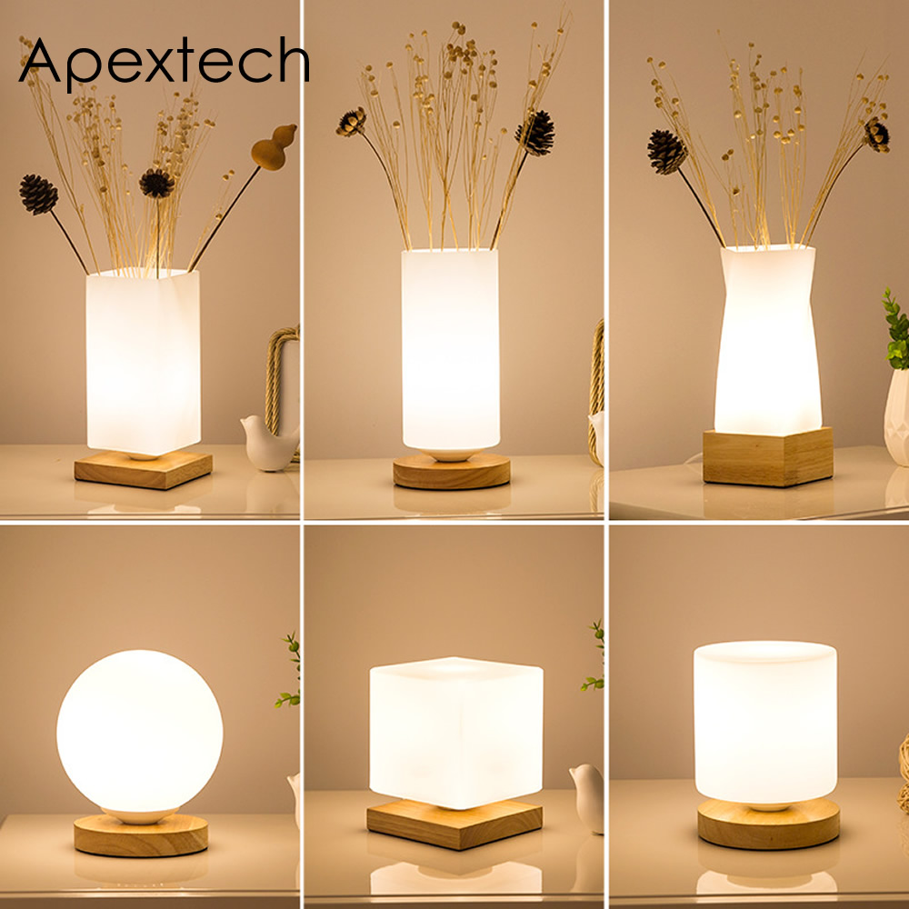 Apextech Wood+Glass Table Lights Modern Simplicity Style Desk ...