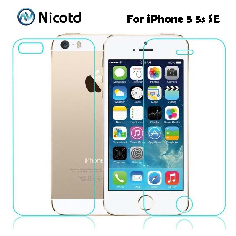 2Pcs/Lot 0.3mm 2.5D Tempered Glass Screen Protector Front + Back For iPhone 5s 5 SE Explosion-Proof Protective Film For iPhone 52Pcs/Lot 0.3mm 2.5D Tempered Glass Screen Protector Front + Back For iPhone 5s 5 SE Explosion-Proof Protective Film For iPhone 5