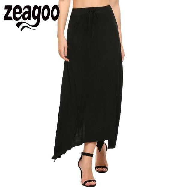 d99751def Zeagoo New Arrival Women Stretch Elastic High Waist Slit Ankle-Length Solid Asymmetrical  Skirt Casual