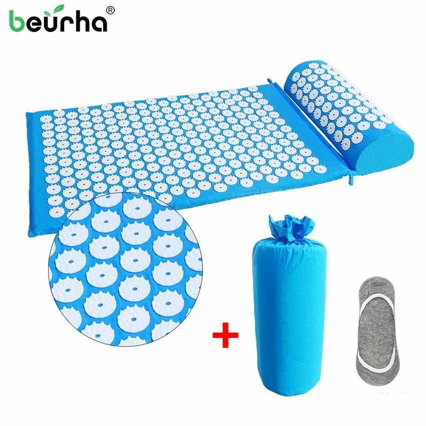 1Set Massager Cushion Shakti Mat Acupressure Relieve Back Body Pain Spike Mat Acupuncture Massage Yoga Mat With Pillow/Bag/Socks