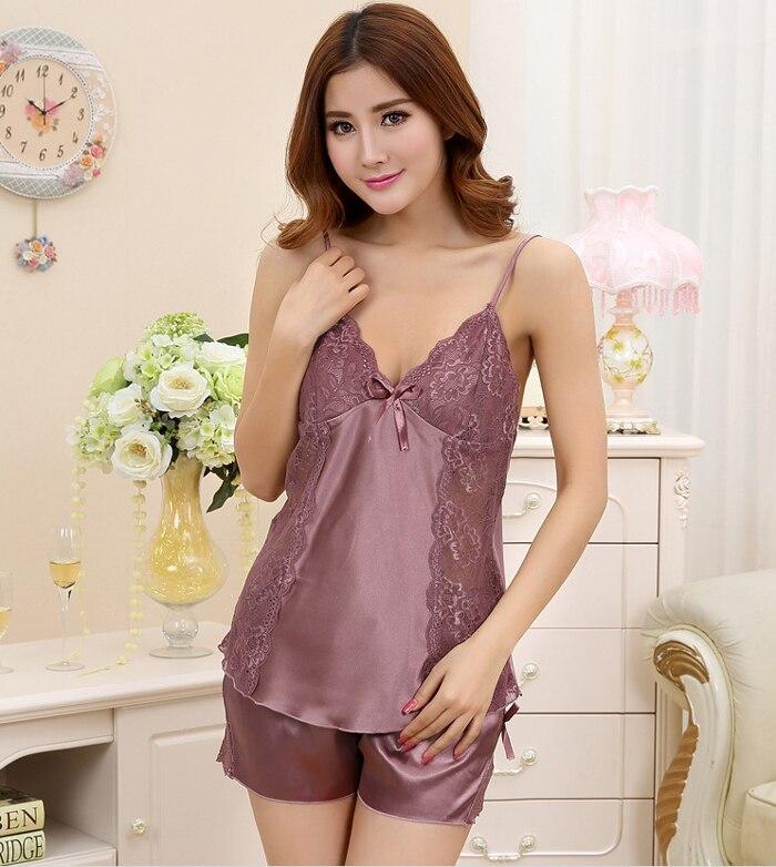 Ladies Sexy Silk Satin Pajama Set Lace Pyjama Set Sleeveless ...