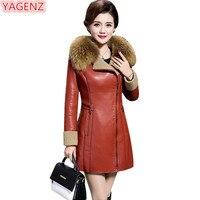 YAGENZ/женская кожаная куртка высокого качества, женские пальто больших размеров, Куртки из искусственной кожи, женские модные зимние кожаные