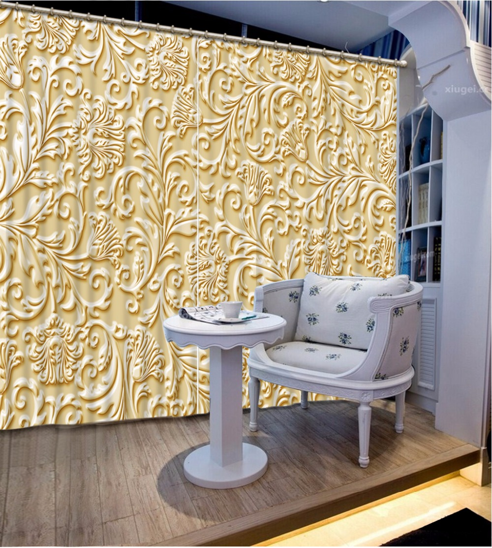 Fashion Customized Home Bedroom Decoration 3D Curtain Beige Pattern Curtains For Bedroom Blackout Shade Window Curtains