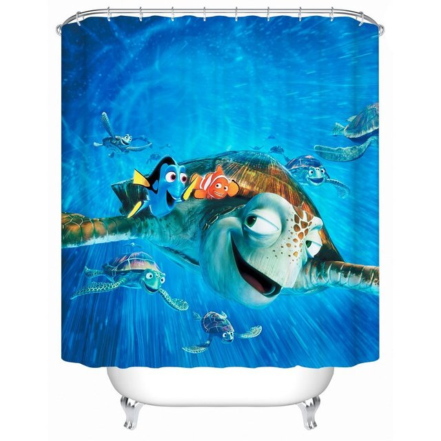 Cartoon Fish Finding Nemo Waterproof Fabric Shower Curtain Acceptable  Personalized Custom Eco Friendly Shower Curtain