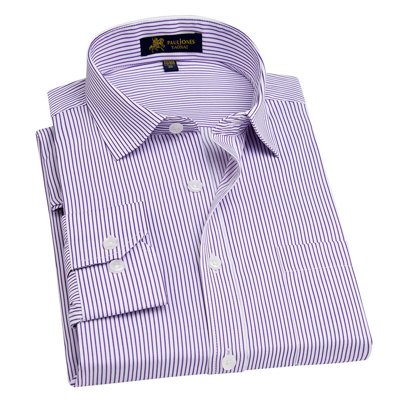 Mens Long Sleeve Blue/white Striped Work Office Dress Shirt Regular Male Formal Business ...