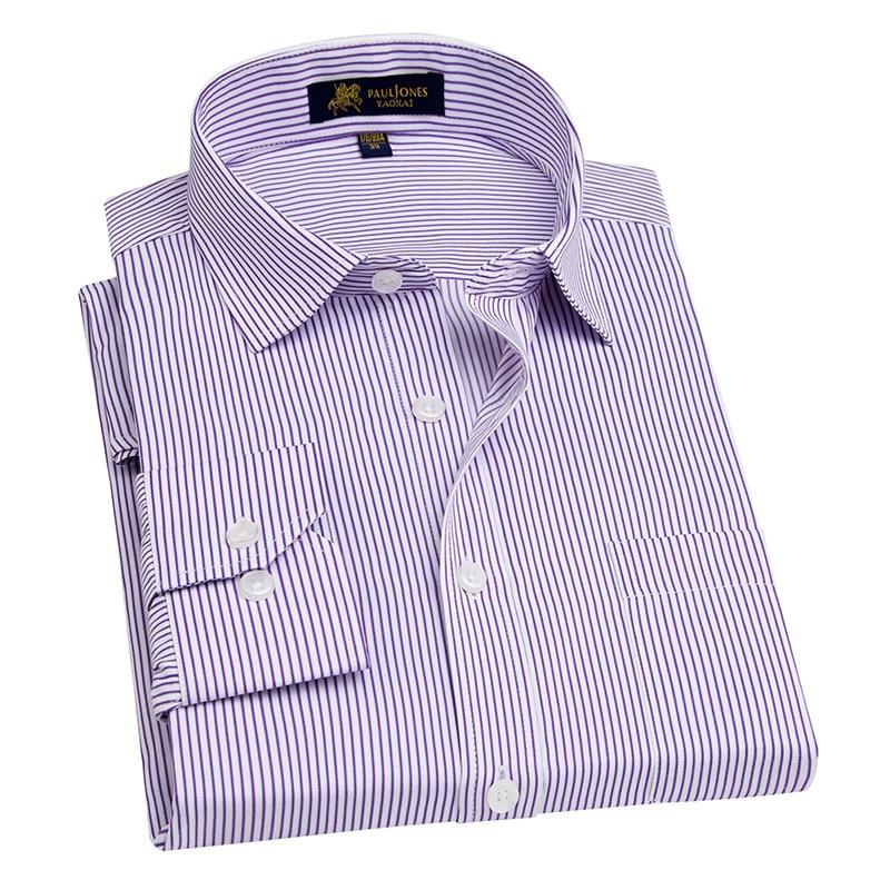 Mens Long Sleeve Blue/white Striped Work Office Dress Shirt Regular Male Formal Business Twill Shirt Camisa social masculina