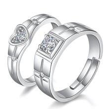 Женское кольцо с фианитом в форме сердца кристаллами свадебное