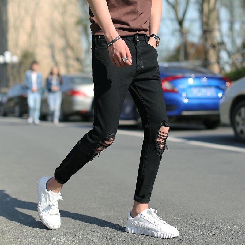 eaef6b42bdc Nuevo 2017 verano moda estilo preppy agujero en la rodilla lápiz jeans  hombres distressed jeans negro Jeans para hombre NZK1 7 en Pantalones  vaqueros de La ...