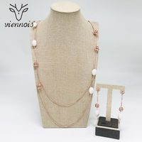 Viennois New Rose Cold Color Round Dangle Earring Set Dubai Gold Jewelry Sets For Women Trendy Style Female Party