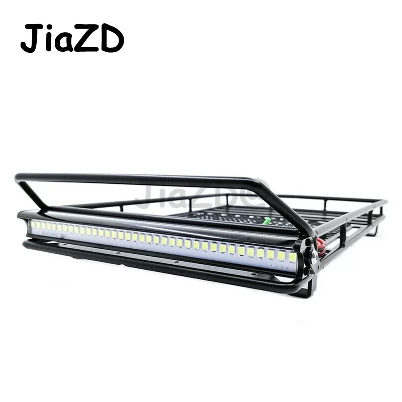 Metal Roof Rack Luggage Carrier With 36 LED Spotlight Bar For 1/10 RC Car Trx4 RC4WD Cherokee Wrangler Axial Scx10