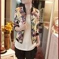 Snowshine #3001 2016 mulheres básico coats jacket 1 PC Mulheres Fique Collar Manga Comprida Zipper Floral Impresso Jaqueta