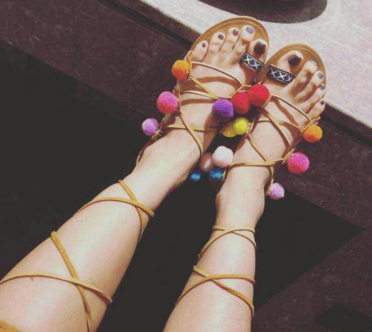 Summer Hot Mixed Colors Straps Women Bohemia Style Sandals Sexy Open Toe Ladies Lace Up Flat Sandals Multi Pom Pom Fashion Shoes hot black satin straps women open toe sandals fashion cut out style butterfly knot back ladies lace up high heels slingback shoe