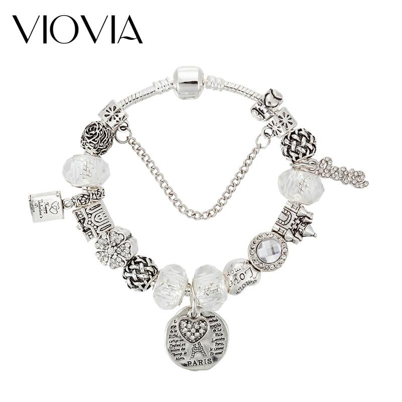 White flowers Pendant Silver Crystal Charm Beads Fit European Charm Bracelet