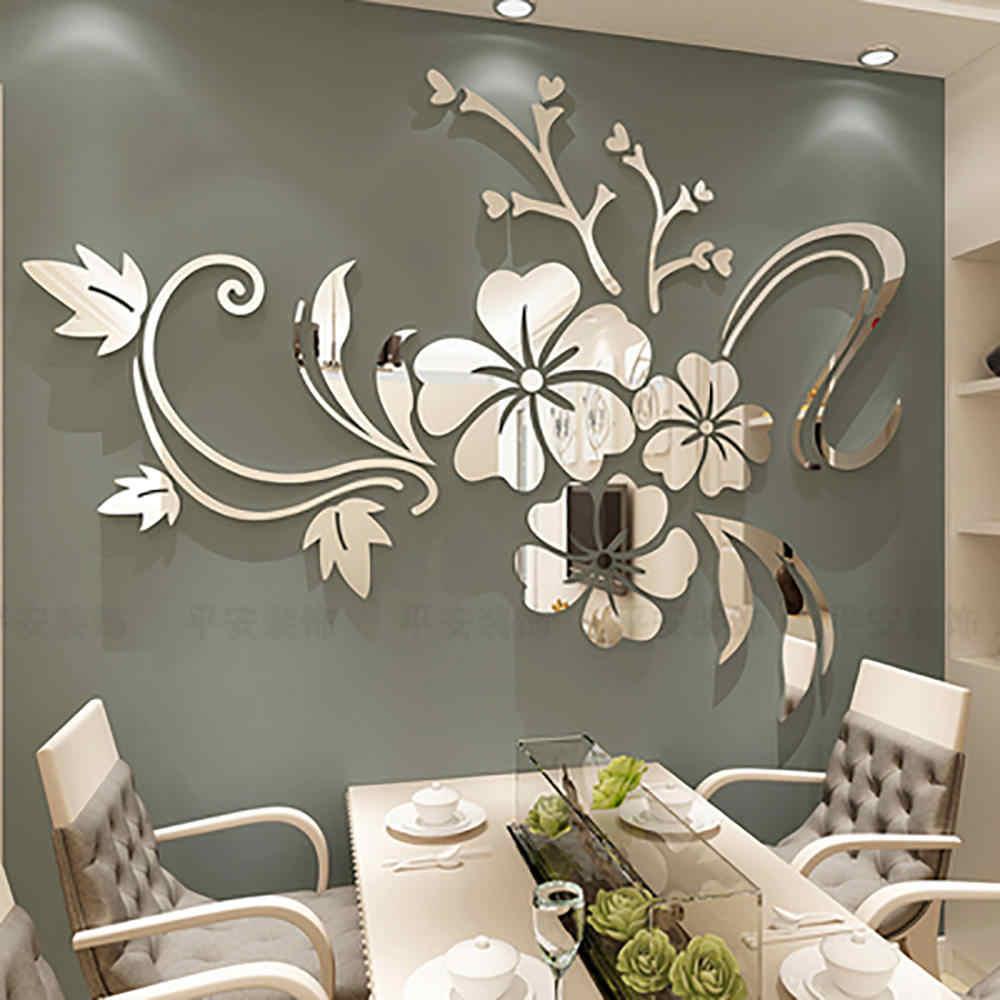 מעודן פרח 3D מראה קיר מדבקות להסרה מדבקות אמנות קיר בית חדר שינה טלוויזיה רקע קישוט