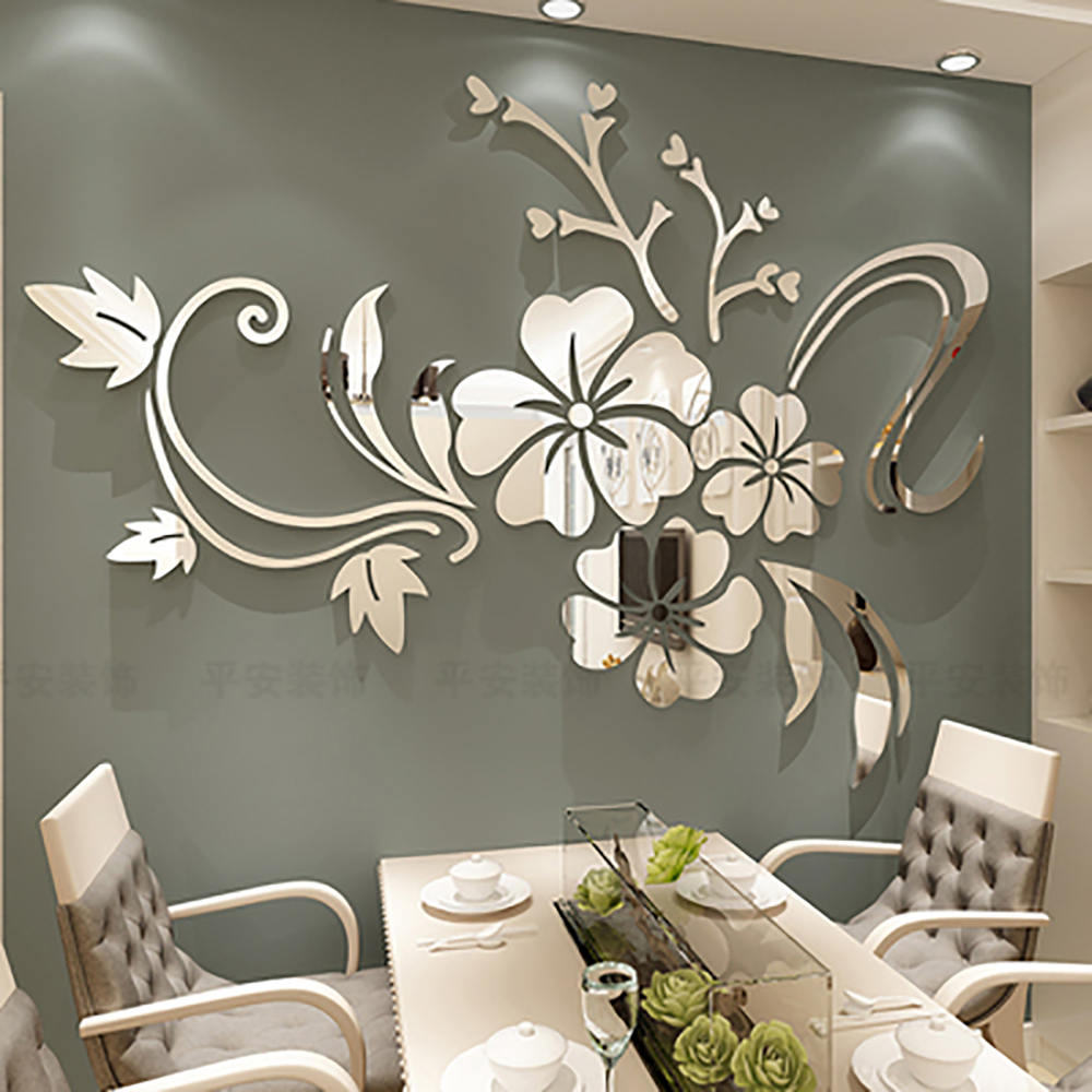 Exquis fleur 3D miroir Stickers muraux amovible décalcomanie Art Mural maison chambre TV fond décoration