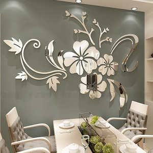 Decal Tv-Background-Decoration Wall-Stickers Removable Art-Mural Flower 3d Mirror Bedroom