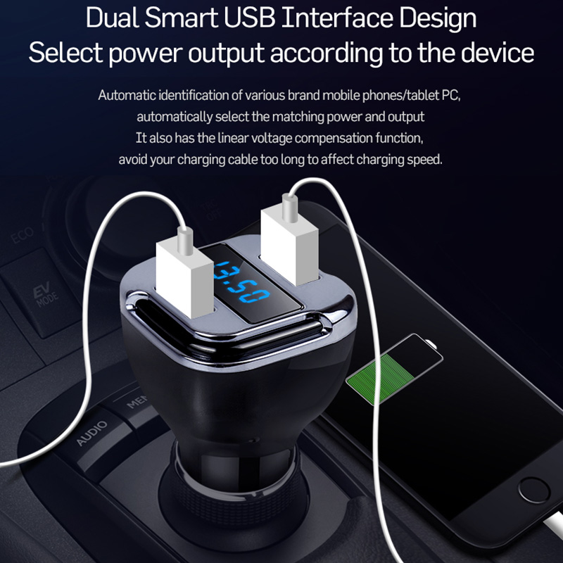 Portable Mini GPS Tracker Mobile APP Track GPS Locator Dual USB Smart Car Charger Real Time Tracking Device Detector Voltmeter (10)