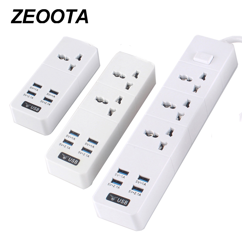 Power Strip 10A/2500W 1/2/3 AC Socket EU/UK/US Plug 4 USB Travel Adaptor with Switch and 2m Extension Cord PC Explosion-Proof