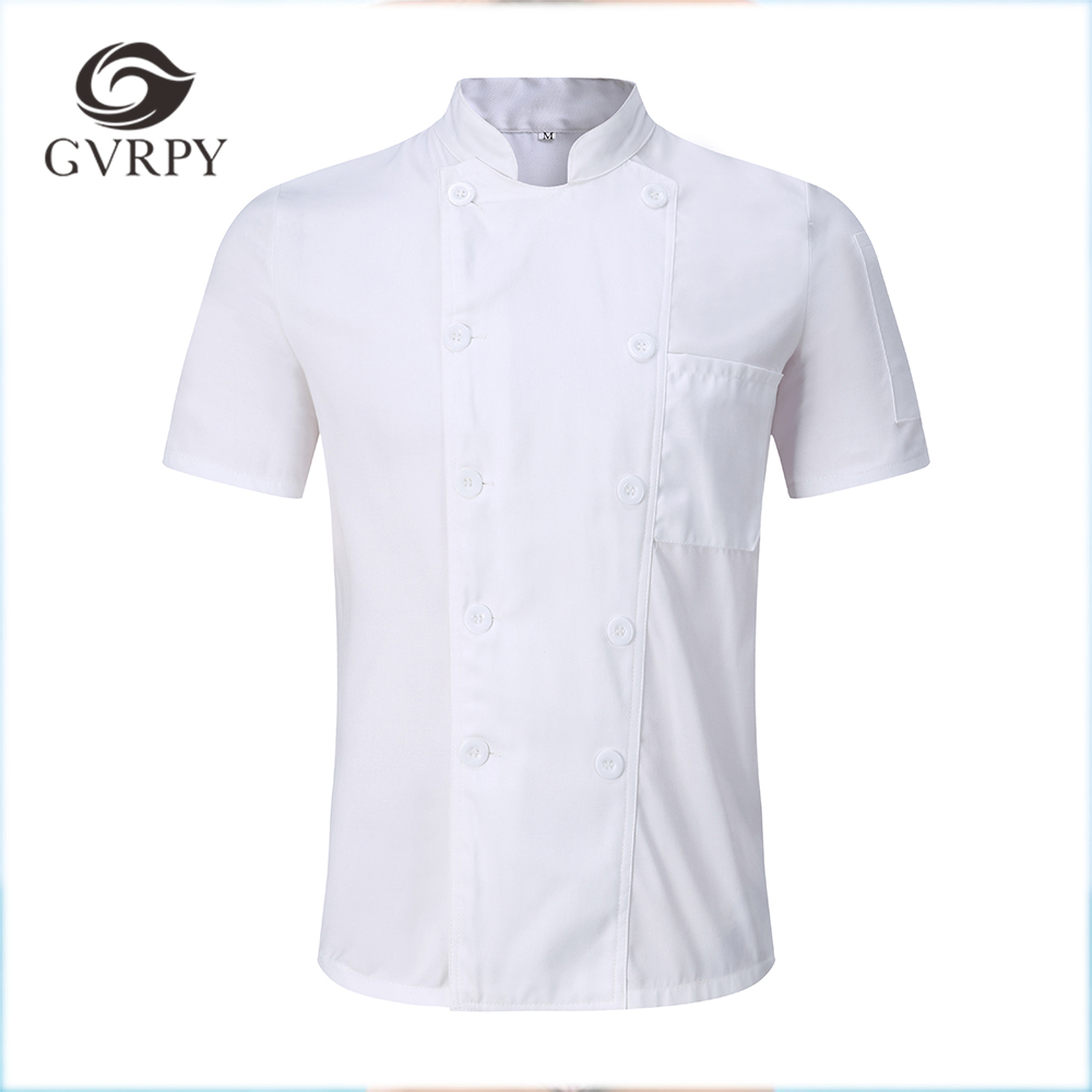 New White Wholesale Unisex Kitchen Chef Uniform Short Sleeve Breathable Double Breasted Chef Jackets & Apron Bakery Food Service