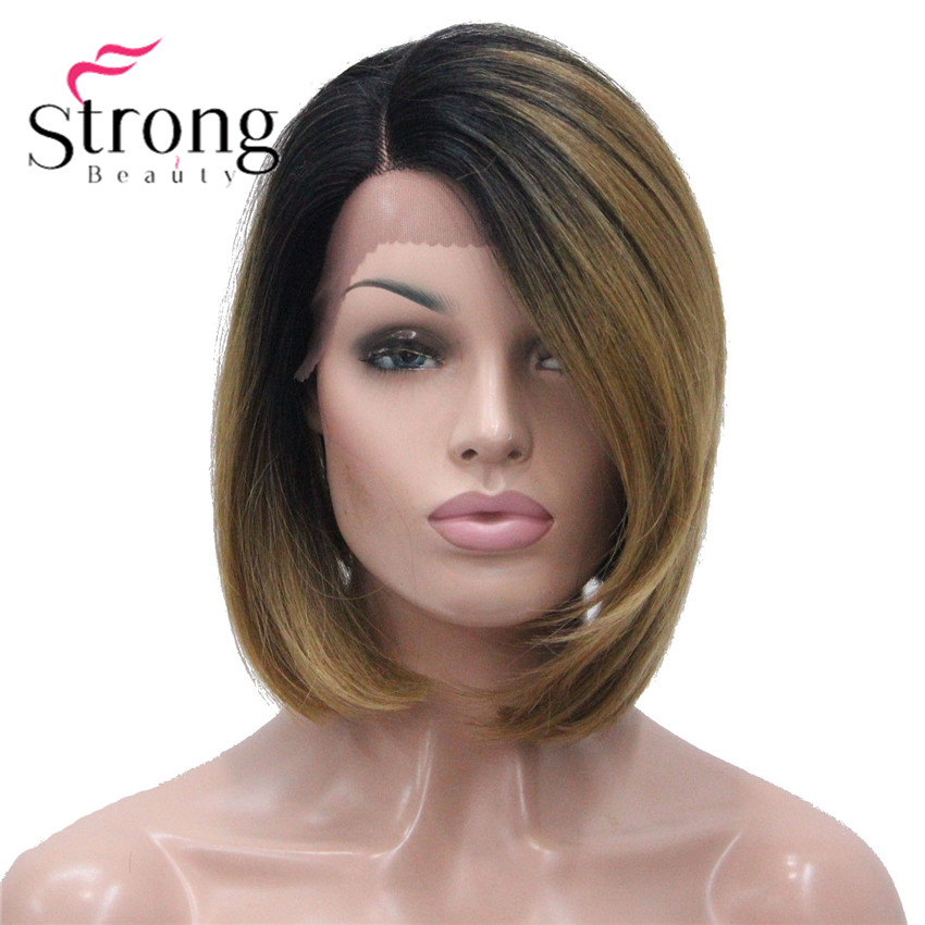 StrongBeauty Ombre Bob Lace Wig with L Part Lace Front Wig Hand tied Invisible Synthetic Straight Wigs