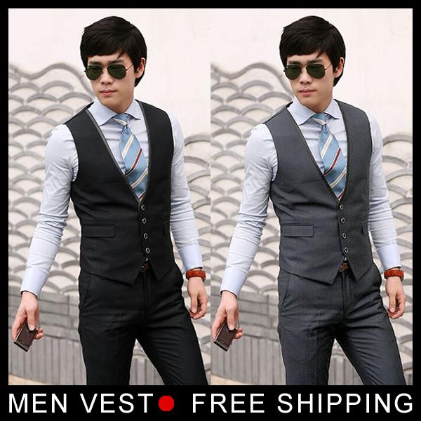 Na venda! frete grátis mens terno Formal Colete Mens moda casual Com Decote Em V terno colete masculino tamanho M, L, XL preto, cinza a partir de fábrica