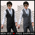 On sale! Free shipping mens Formal suit Vest Mens's casual fashion V-neck suit vest male size M, L, XL black, grey from factory