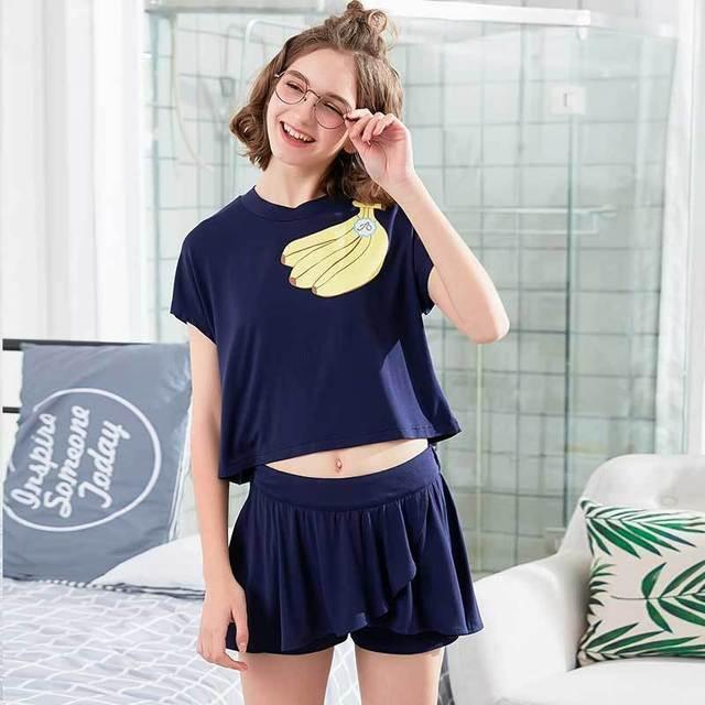 Sweet Soft Two Piece Set Sleepwear Short Sleeve Women s Sleepwear Set Sweet  Banana Pattern O Neck Short Sleeve Casual Home Suit 3ce97b067