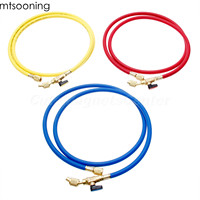 mtsooning 3Pcs R134A AC Charging Hose with Ball Valves 1/4 SAE 150mm 60 R410A R134A R12 R22 R502