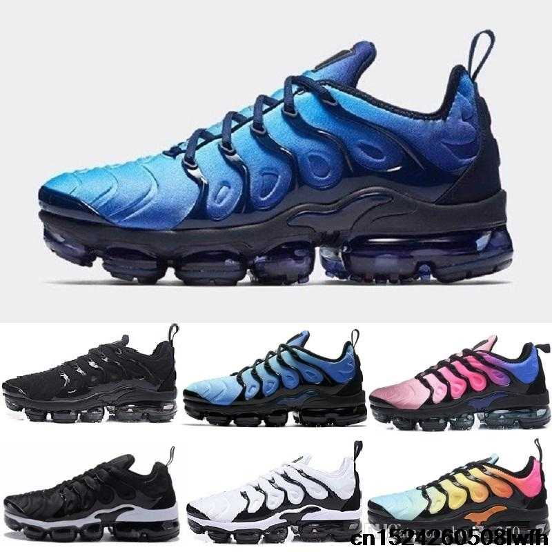 7ef12525c43 2018 Plus Shoes Men Casual Triple Black Olive Metallic White VAPORMAX TN  Silver Sport Athletic Sneakers