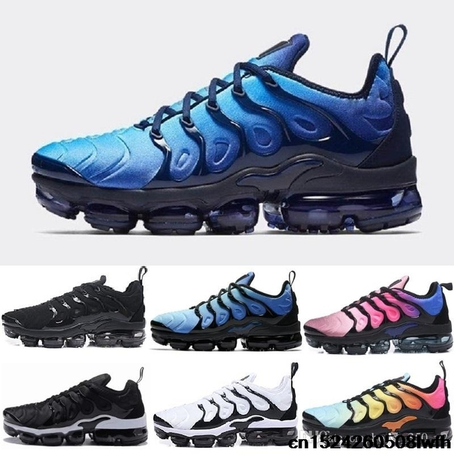 best website e25b9 b1a95 US $27.58 8% OFF|2018 Plus Shoes Men Casual Triple Black Olive Metallic  White VAPORMAX TN Silver Sport Athletic Sneakers Hiking Jogging Shoes-in ...