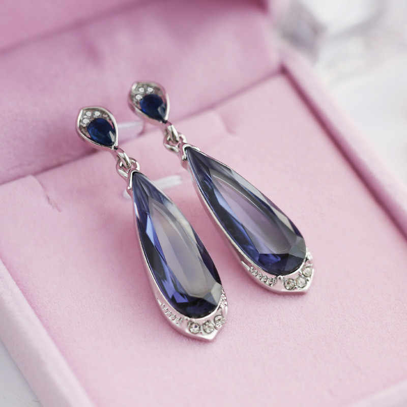 Modyle New Fashion Personality Blue women Crystal Long Drop Earrings Jewelry for Woman Free shipping