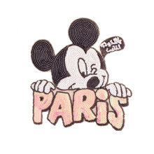 1PCS Mouse PARIS Sequins Fabric Patch Embroidered Iron on Patches For Clothing DIY Decoration Clothes Stickers Applique Badge