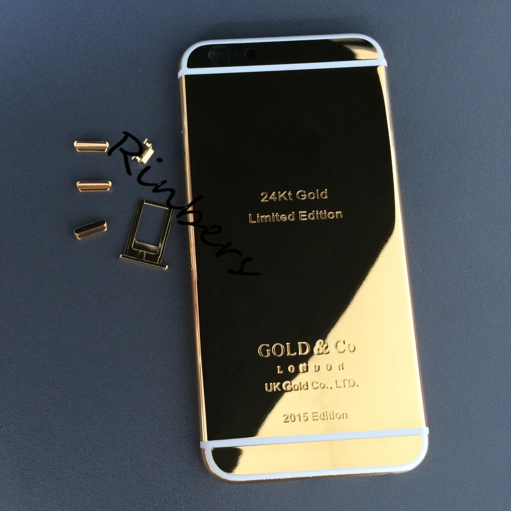 24k 24kt 24ct Limited Edition Mirror Gold Middle Frame Replacement Back Cover Housing Logo Engraved Word Button For Iphone 6 4 7 For Iphone For Iphone 6logo Replacement Aliexpress