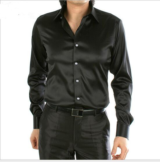 spring autumn New style men black long sleeve silk shirt korean ...