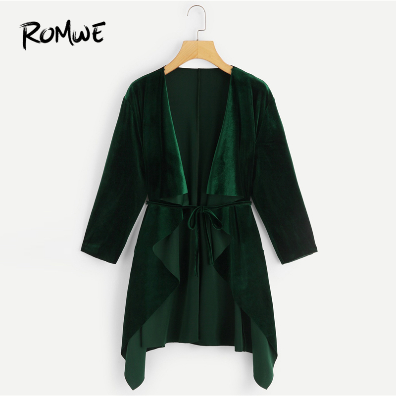 ROMWE Velvet Waterfall Coat With Belt 2019 Luxury Fashion Spring Autumn Long Coat Women Green Chic Style Long Sleeve Outer