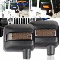 Marlaa LED DRL & Arrow Turn Signal Side Mirror Housing for 07 17 Jeep Wrangler 2pcs