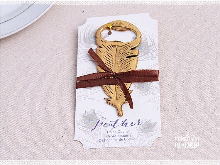 485efec7ff Regalo y regalos del favor de la boda para el huésped del hombre-oro dorado  Plumas abrebotellas vino partido favor 100 unids lote