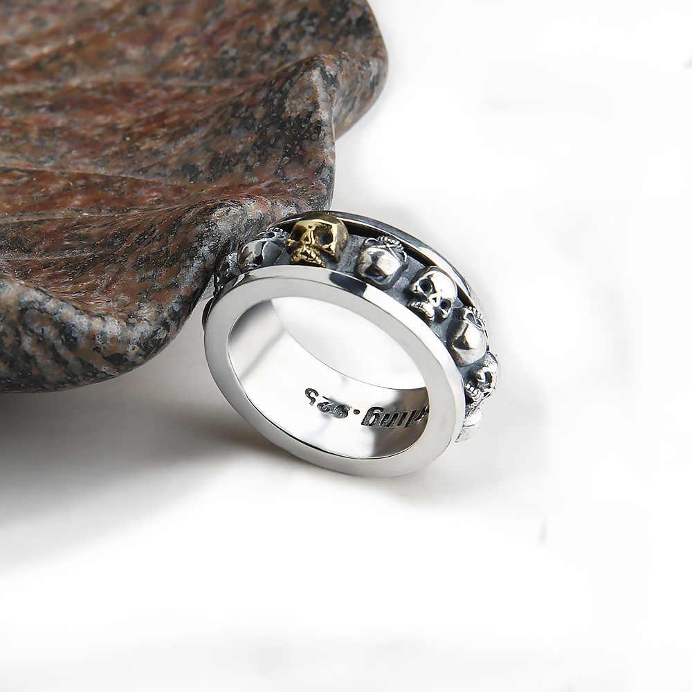 V. YA marca Sterling SilverJewelry Vintage 925 anillos de calavera de plata esterlina para hombres mujeres Rotatable 3D cráneo cabeza anillo estilo punk
