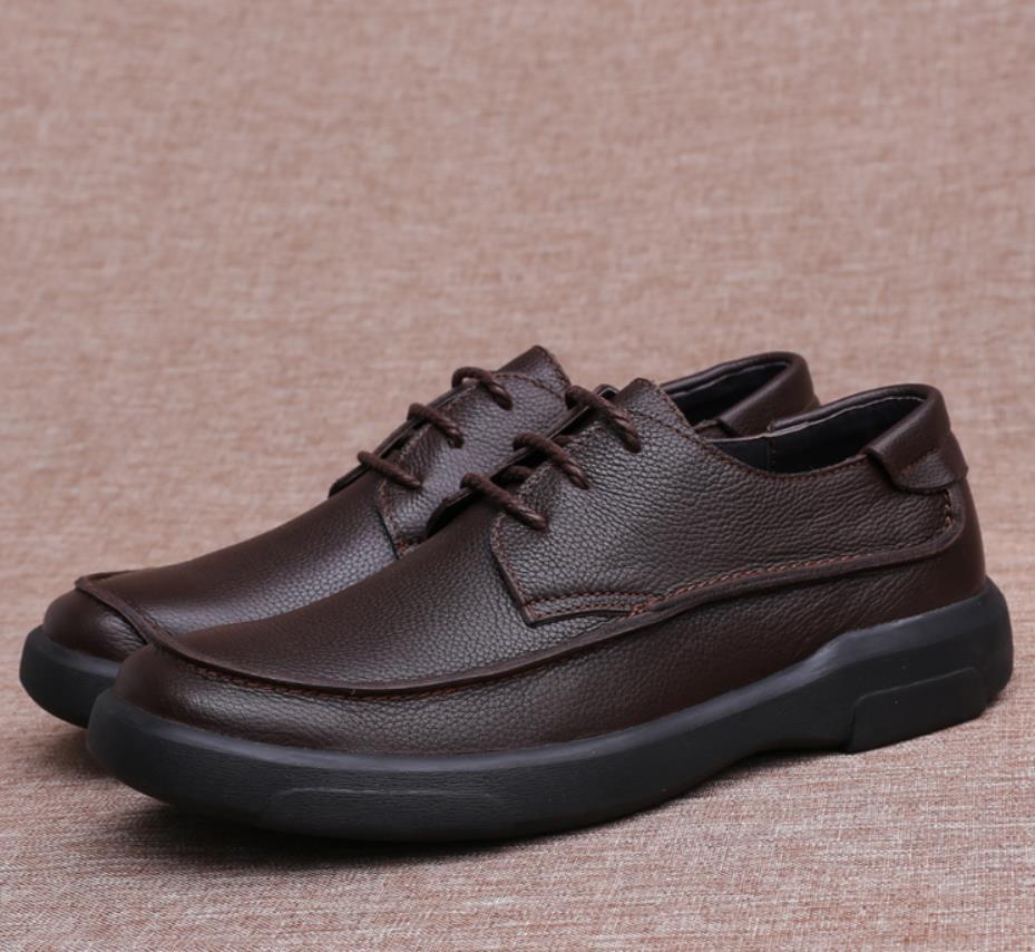 Primavera Couro Preto Homens Sapatos marrom Lazer E De Dos Grosso Outono Novos Negócios No vYnwvqHr7