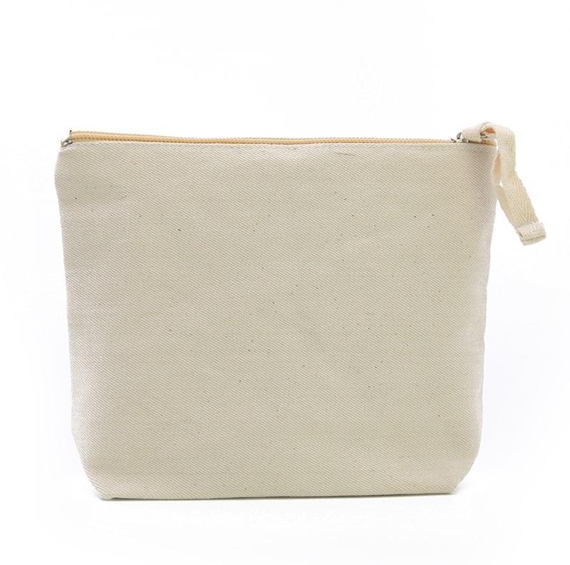 OIVEFEET LG0103 Plain Nature Cotton Canvas Cosmetic Bag Makeup Zipper Pouch Travel Toiletry Organizer Bag