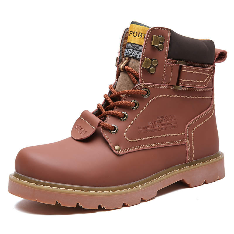 New 2019   couple tooling shoes men High quality fashion winter men's boots Martin boots warm35-46large size plus cotton models