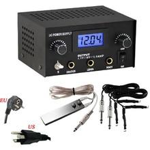 Pro Digital Dual Black Tattoo Machine Power Supply Kit W/ 2 Clip Cord & Foot Pedal — TP-001A