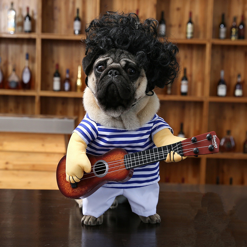Guitar Dog Clothes Funny Striped Pet Christmas Costume for