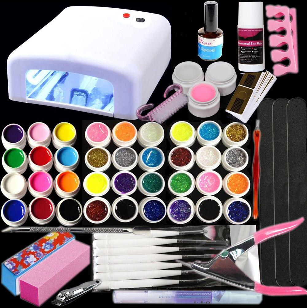 Nouveau Pro 36 W GEL UV lampe blanche et 36 couleurs Gel UV outils d'art des ongles Kits ensemble de vernis à ongles outils d'art des ongles brosses Gel de paillettes