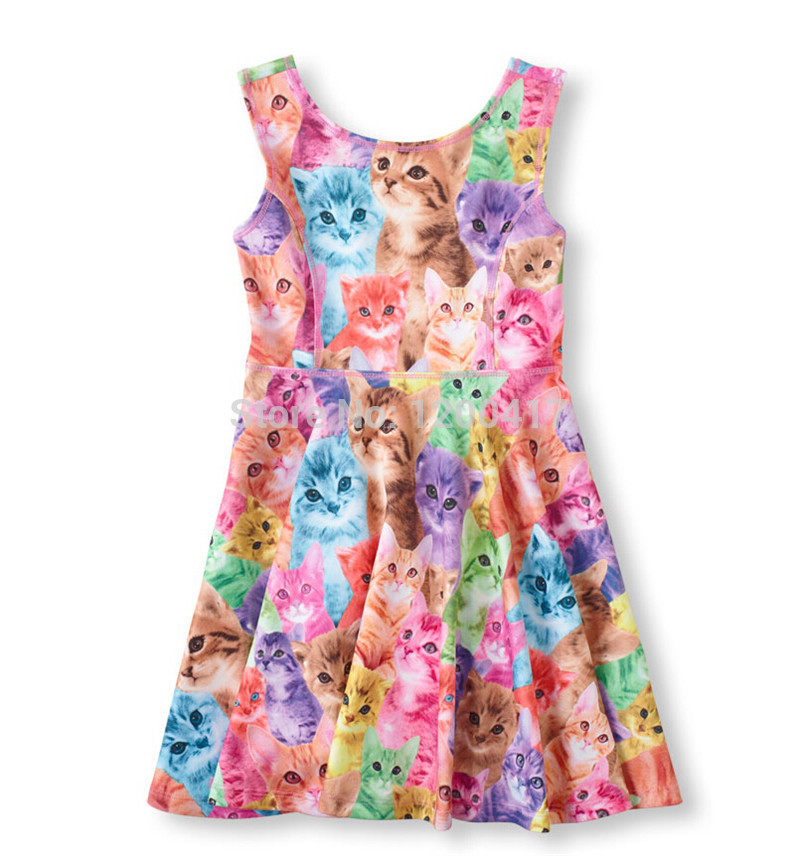 Casual Cute Cat Print Pattern Children 39 S Boutiques Animal Summer Fashion Girl Dress Kids Clothes